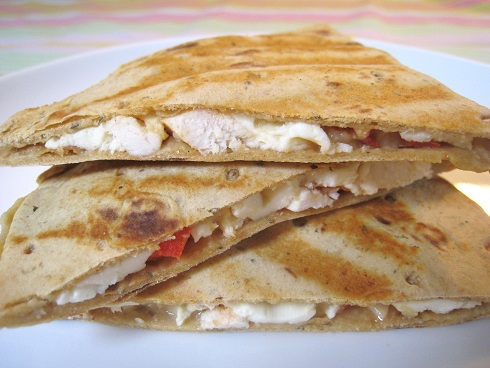 Post image for Roasted Garlic Hummus Quesadilla