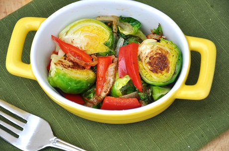 Post image for Sauteed Balsamic Brussel Sprouts with Onion, Garlic and Red Peppers