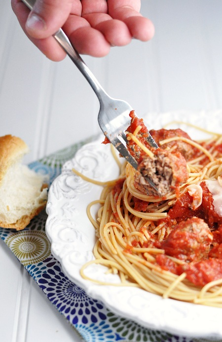Slow Cooker Bison Meatballs and Whole Grain Spaghetti