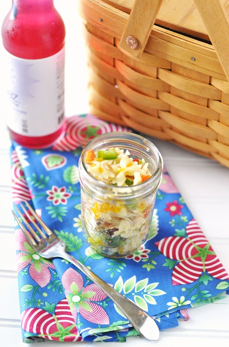 Post image for Mandarin Orange & Roasted Red Pepper Bowtie Pasta Salad Recipe with Lemon Honey Vinaigrette
