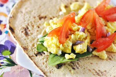 Hummus, Egg & Vegetable Breakfast Wrap Recipe