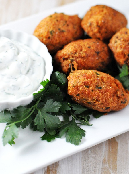 Post image for A Twist on Portuguese Codfish Balls: Salmon Ball Croquettes with Herb Sauce