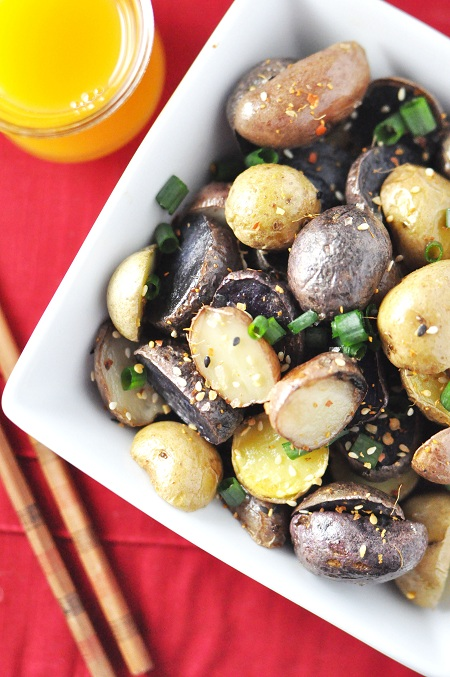 Asian Inspired Toasted Sesame and Orange Vinegar Roasted Potatoes