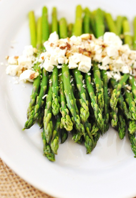 Post image for Easter Menu Ideas: Asparagus with Vinaigrette, Feta, Parmesan & Almonds Recipe
