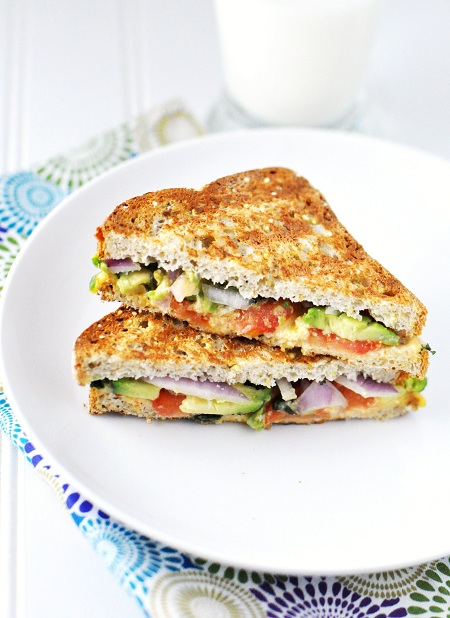 Post image for Super Grilled Cheese with Avocado, Tomato, Cilantro & Red Onion
