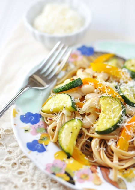 Post image for Linguine with Zucchini, Beans and Pepper