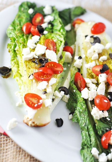 Grilled Romaine Lettuce with Feta, Tomato & Olives