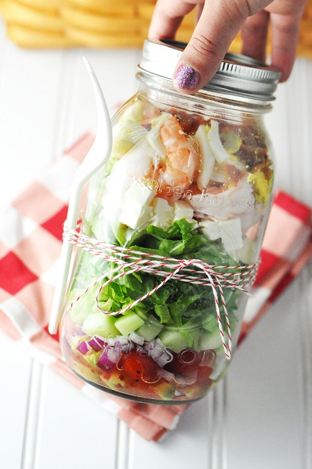 Post image for Shrimp & Feta Cobb Salad: A Healthier Salad In A Jar