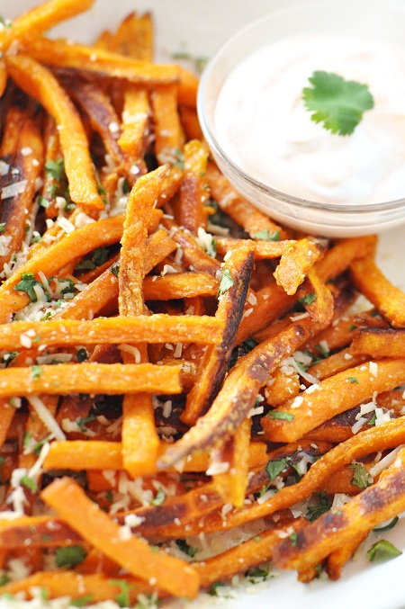 Post image for Baked Sweet Potato French Fries with Parmesan & Cilantro……Meow