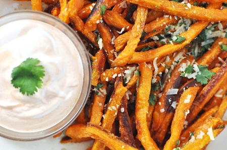 Baked Sweet Potato French Fries With Parmesan Cilantro