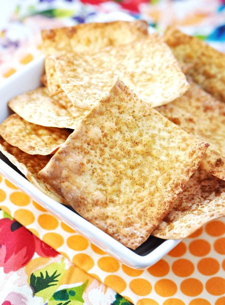 Post image for Pumpkin Pie Spice Baked Wonton Chips