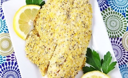 Cornmeal & CHia Crusted Tilapia