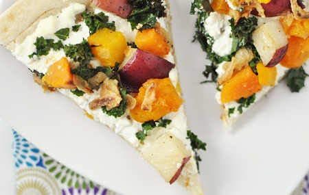 Kale, Butternut Squash, Potato and Ricotta Pizza with Fried Onions