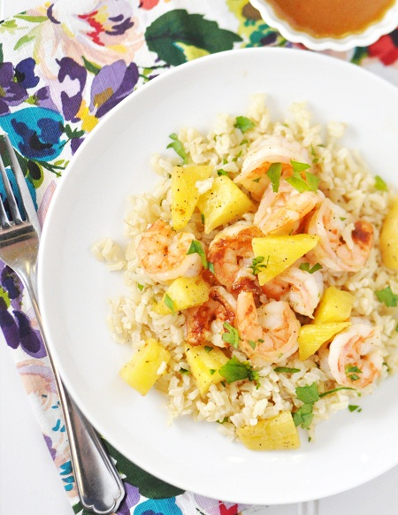 Post image for Low-Fat, Low-Sugar Asian Ginger Shrimp & Pineapple with Cilantro Lime Rice