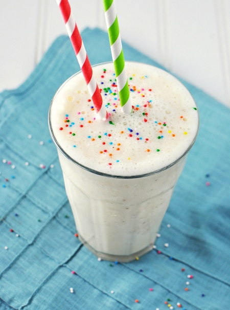 Skinny Bananas Foster Almond Milkshake Smoothie Recipe & Give Your Kids Sprinkles