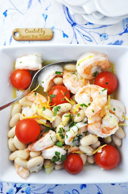 A Lighter Shrimp Scampi with Cannellini Beans & Tomato Recipe