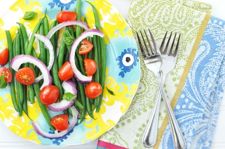 Haricot Verts (French Green Bean) Salad Recipe with Tomatoes, Onion & Basil