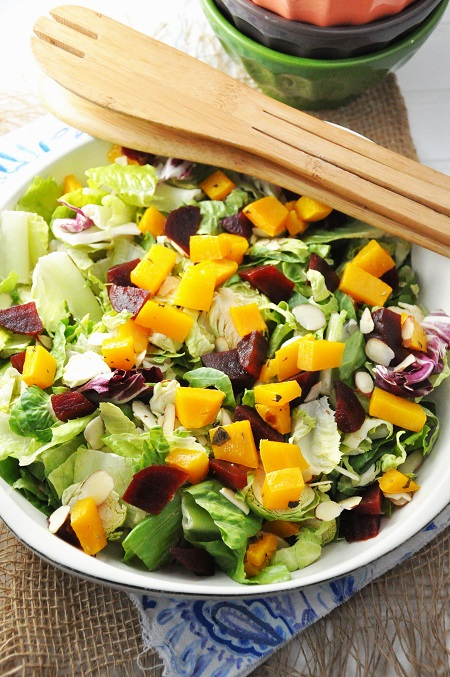 Roasted Squash, Beet and Shredded Brussel Sprout Salad Recipe