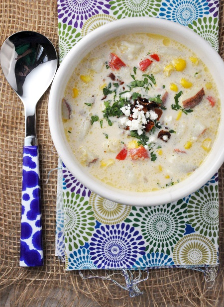 Corn and Quinoa Chowder Recipe with Feta & Cilantro