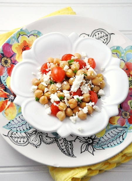 Post image for Chickpea, Feta & Tomato Recipe {Salad, Side Dish, Vegetarian, Gluten-Free}