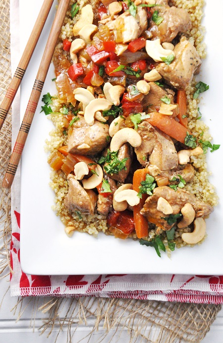 Slow Cooker Cashew Chicken with Vegetables over Quinoa Recipe {Gluten-Free, Dairy-Free & Clean Eating}