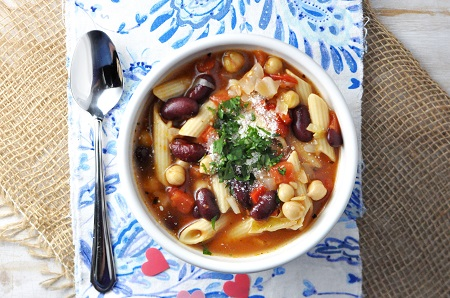 Minestrone Soup Recipe with Chickpeas & Kidney Beans