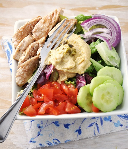 Post image for Power Chicken Hummus Bowl Recipe