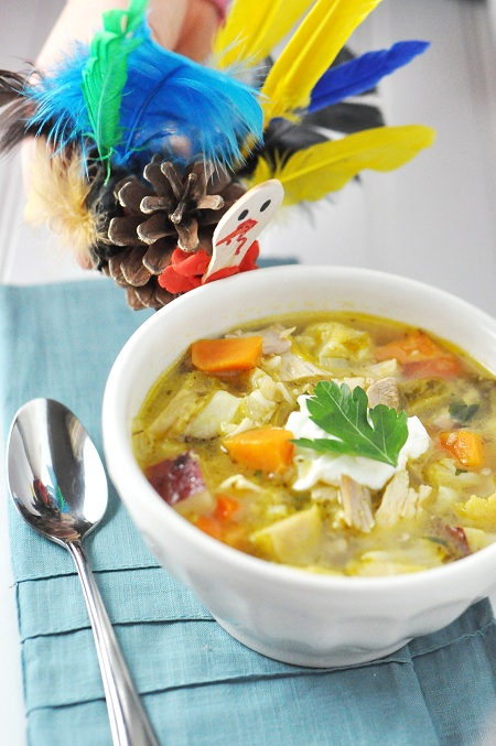 Thanksgiving Leftover Turkey and Toasted Barley Vegetable Soup Recipe
