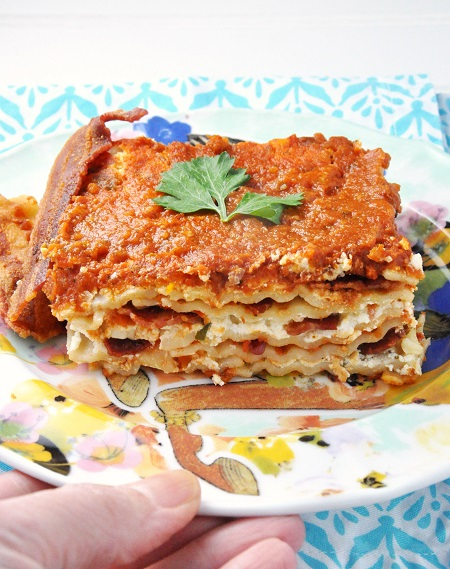 Bacon Lasagna with Homemade Roasted Carrot Marinara Sauce Recipe #PYREX100