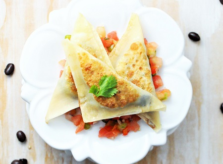 Plant-Based Black Bean Quinoa Wonton Ravioli Recipe