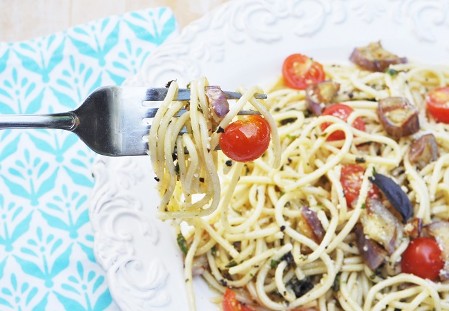 Perfect Basil Pesto Pasta with Grilled Eggplant and Cherry Tomatoes